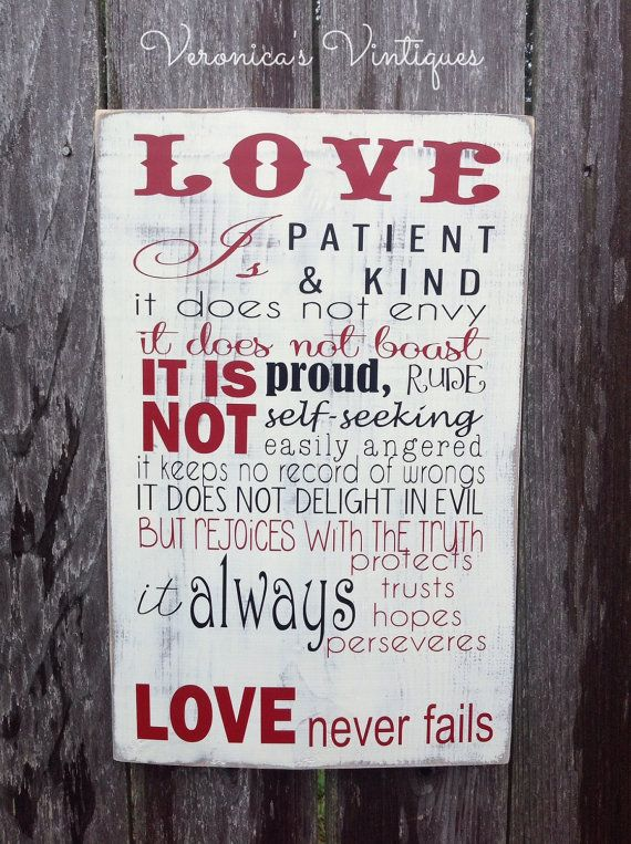 First Corinthians sign love is patient sign by VeronicasVintiques