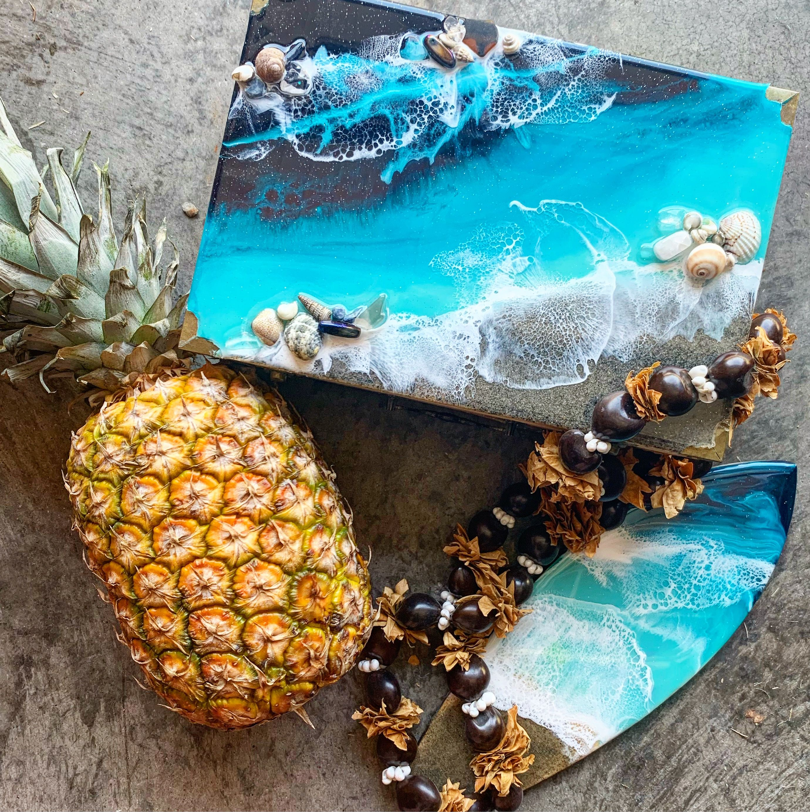 Custom beach jewelry box. Made with real shells and gems