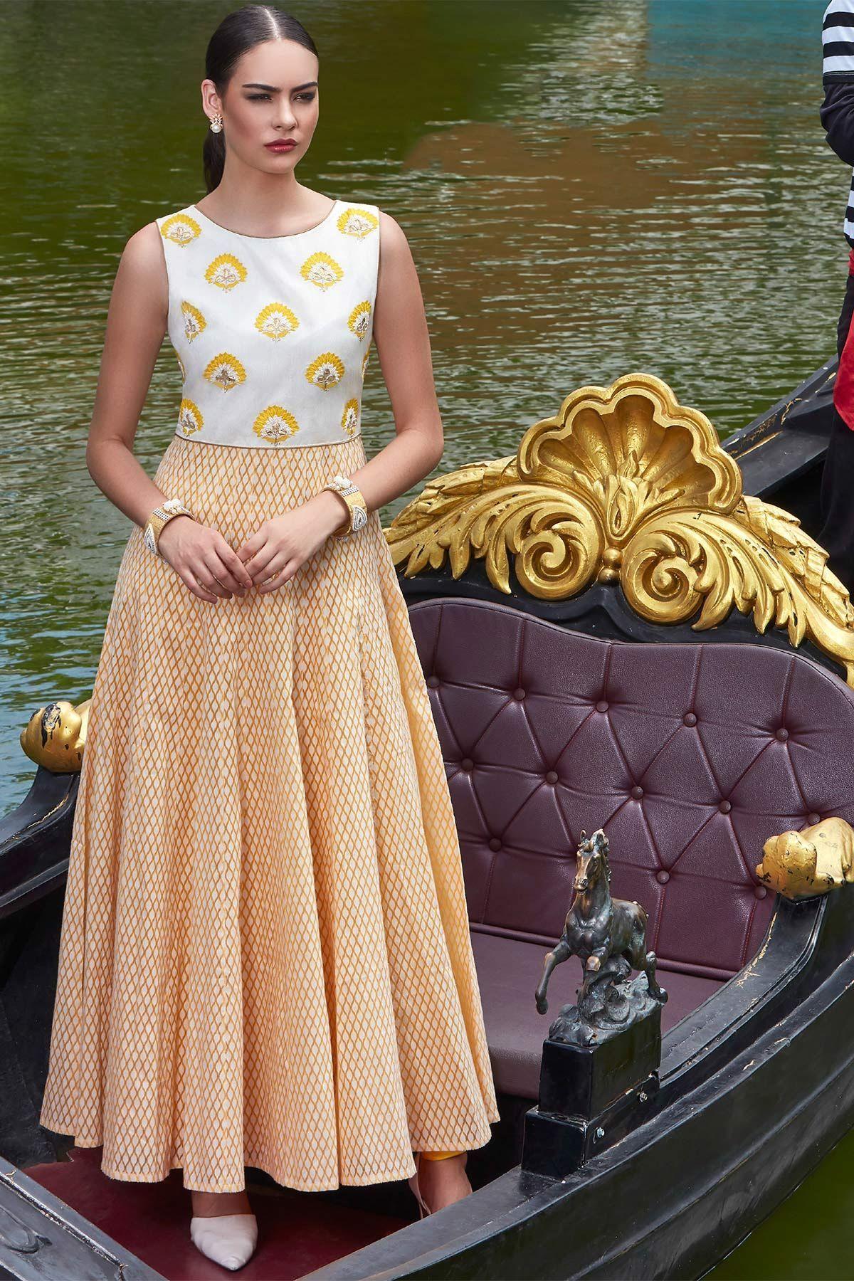 Yellow sequins embroidered cotton designer salwarsl salwars