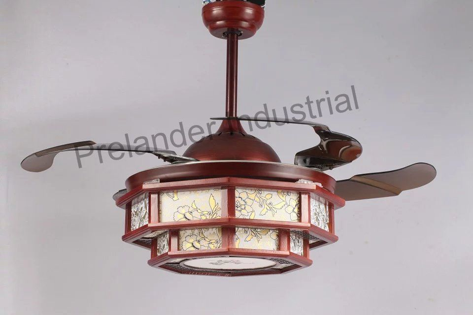 Chinese Art Ceiling Fan Hidden Blades Ceiling Fan Retractable