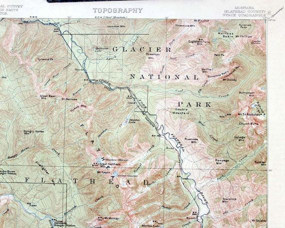 Antique Topographic Map Of Glacier National Park Flathead County