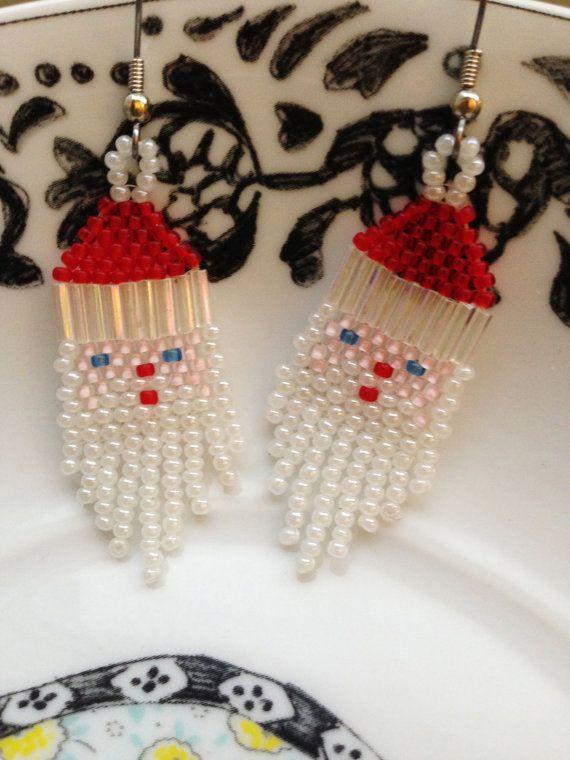 Beaded Santa Earrings Santa Beads And Holidays