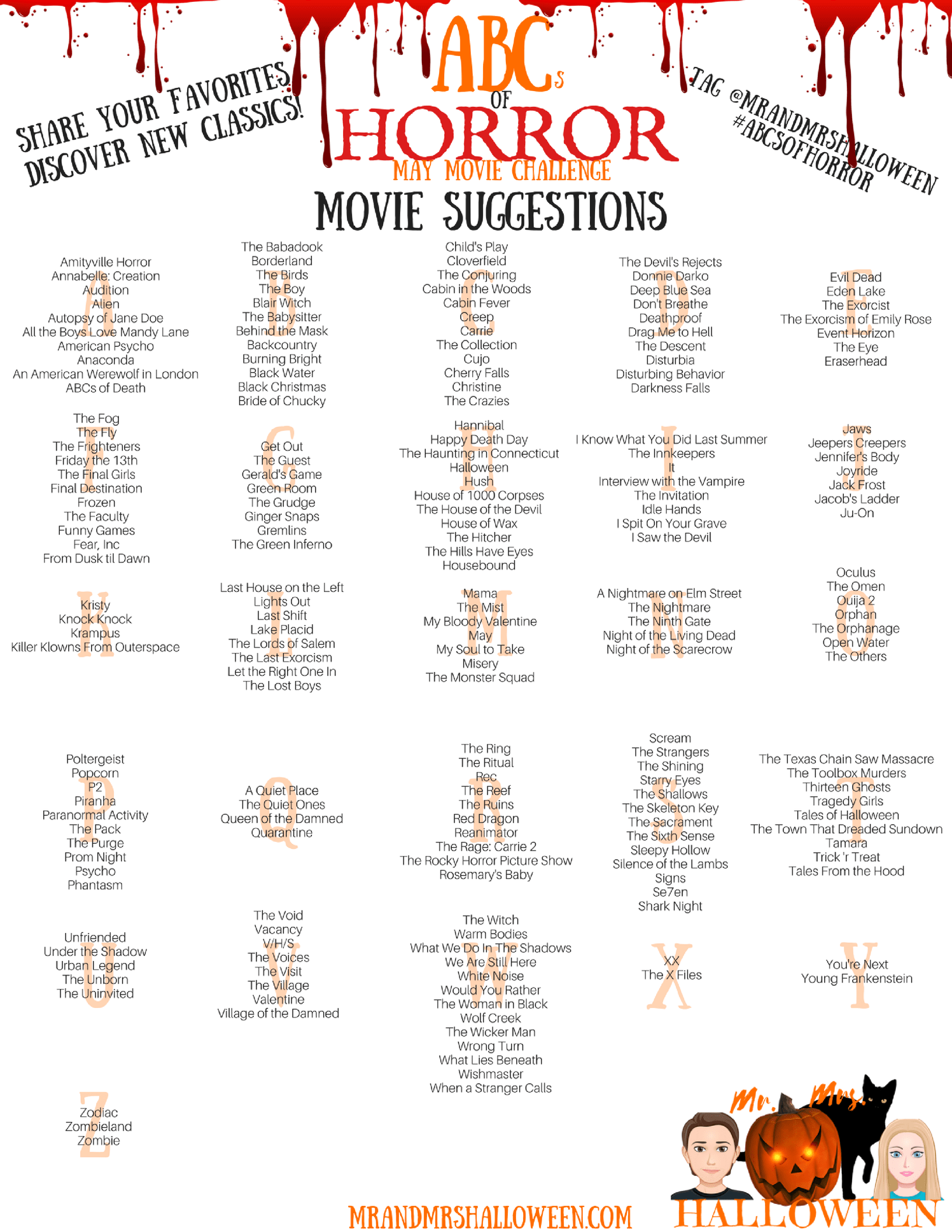 Halloween Mr And Mrs Halloween Horror Movie Challenge Halloween Horror Movies Best Halloween Movies Scary Movie List Horror movie club house of 1000 corpses. halloween movies scary movie list