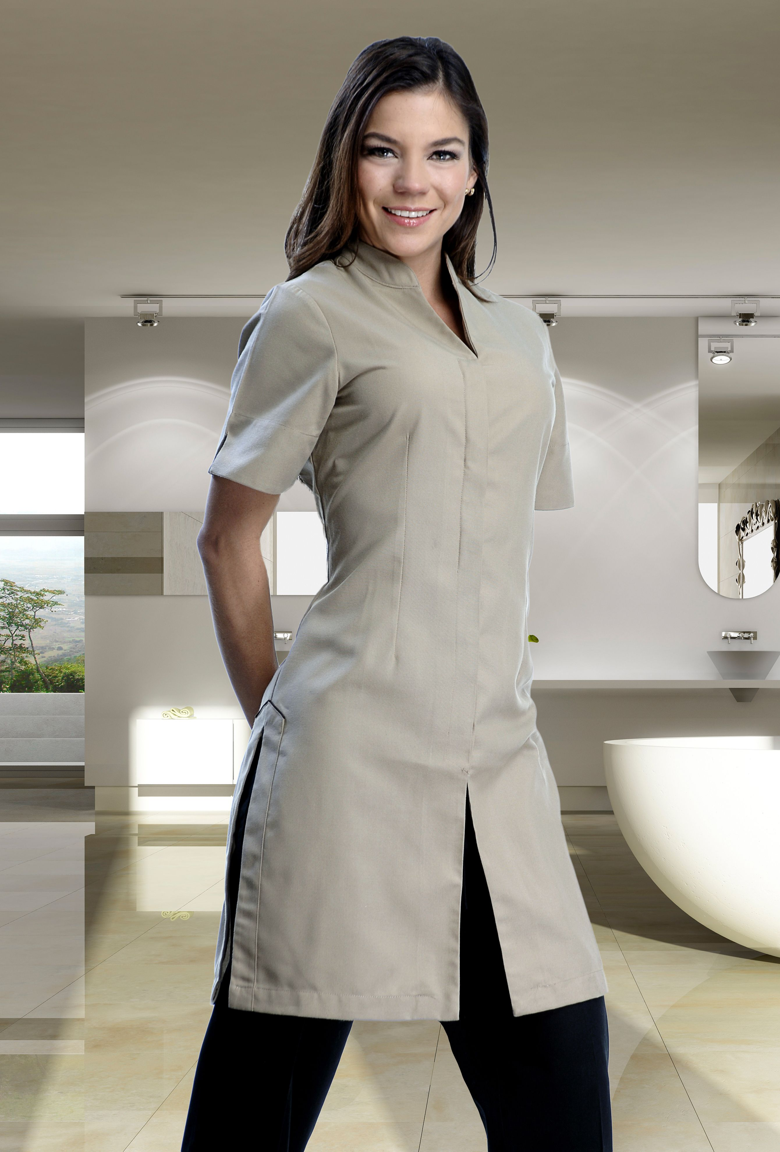 Pin de creaciones red en uniformes de mujer uniforme de for Spa uniform patterns