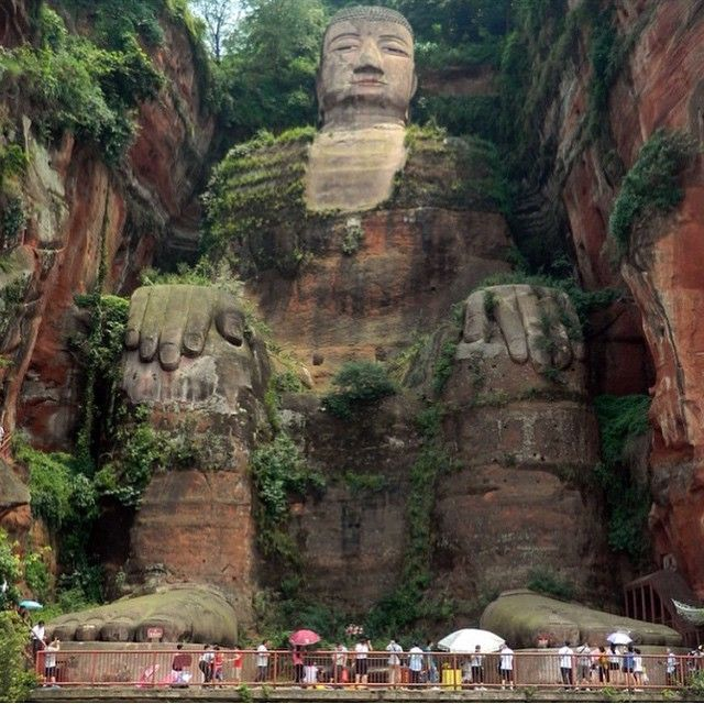 Leshan Giant Buddha is a 233 foot tall stone statue, built during the Tang Dynasty. It is carved out of a cliff face that lies at the confluence of the Minjiang, Dadu and Qingyi rivers in the southern part of Sichuan province in China, near the city of Leshan.
