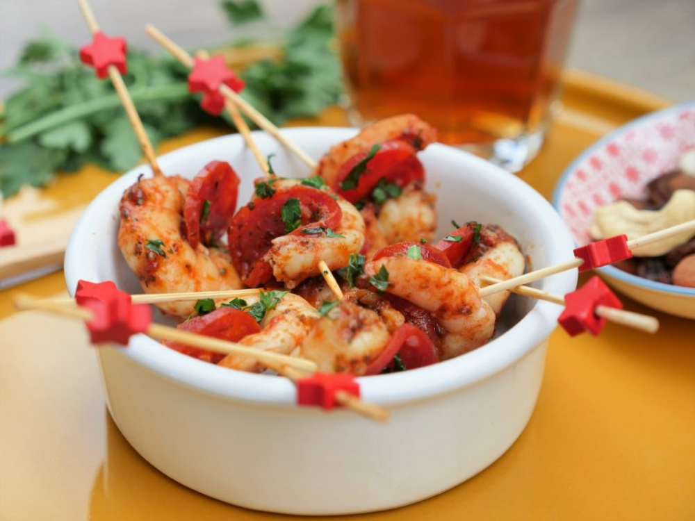 Tapas de crevettes au chorizo