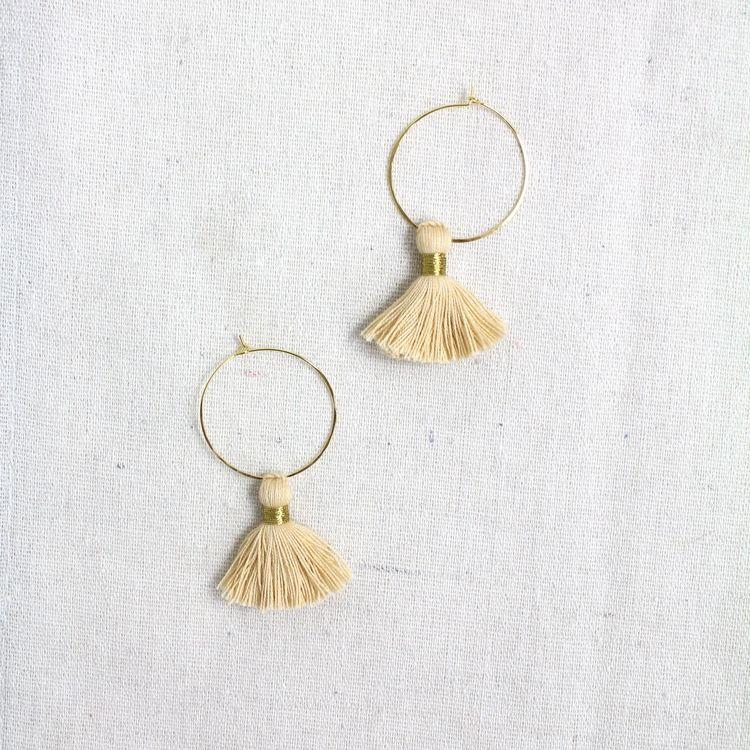 Silk Tassel Hoop Earrings $24