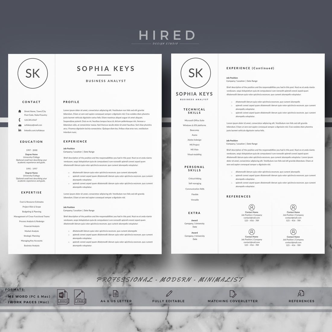 Professional Resume Template for Word & Pages Resume