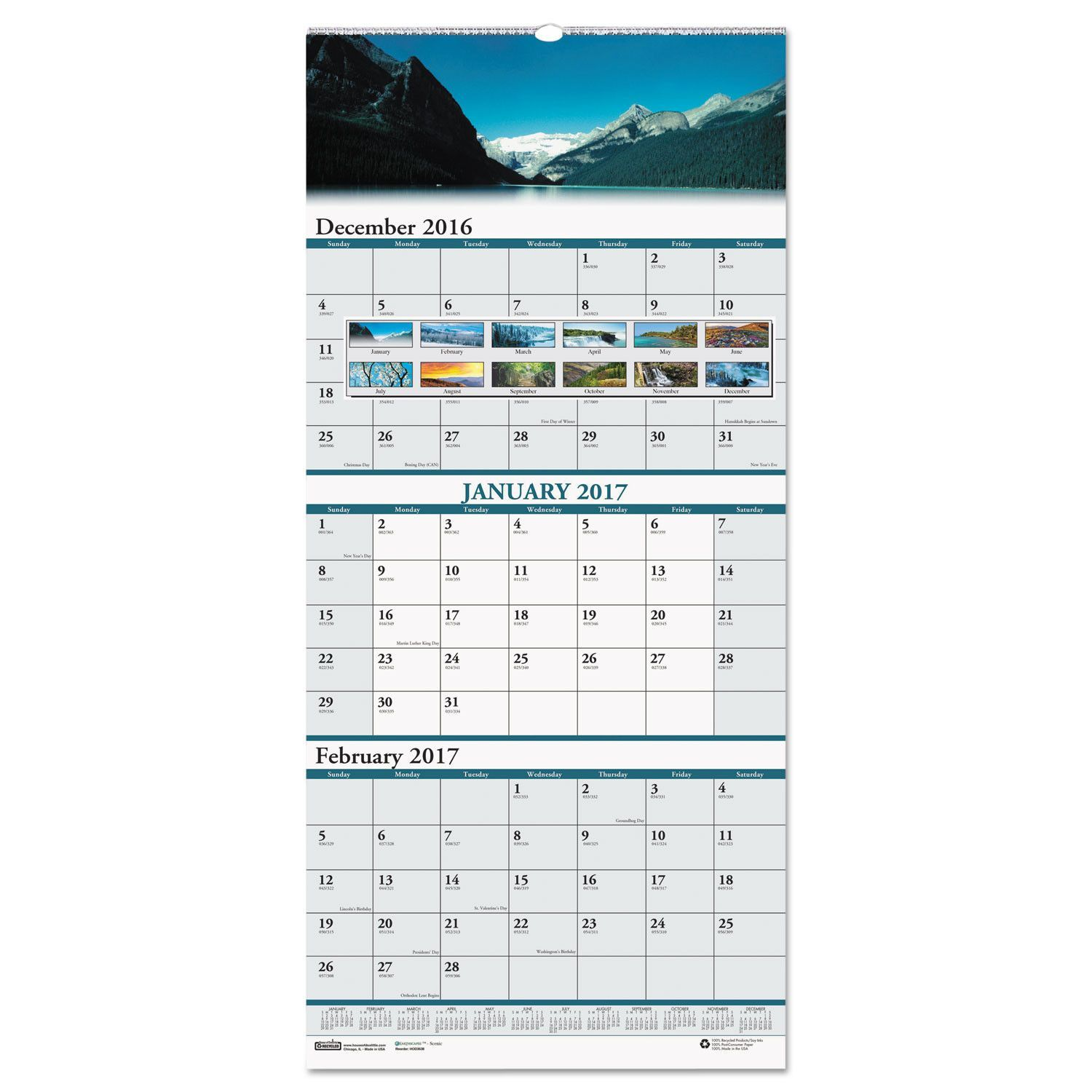 recycled scenic compact three month wall calendar 8 x 17 on office wall colors 2021 id=82031