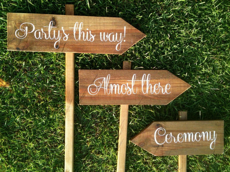 Wedding Signs Wooden Ceremony Sign Reception Arrow