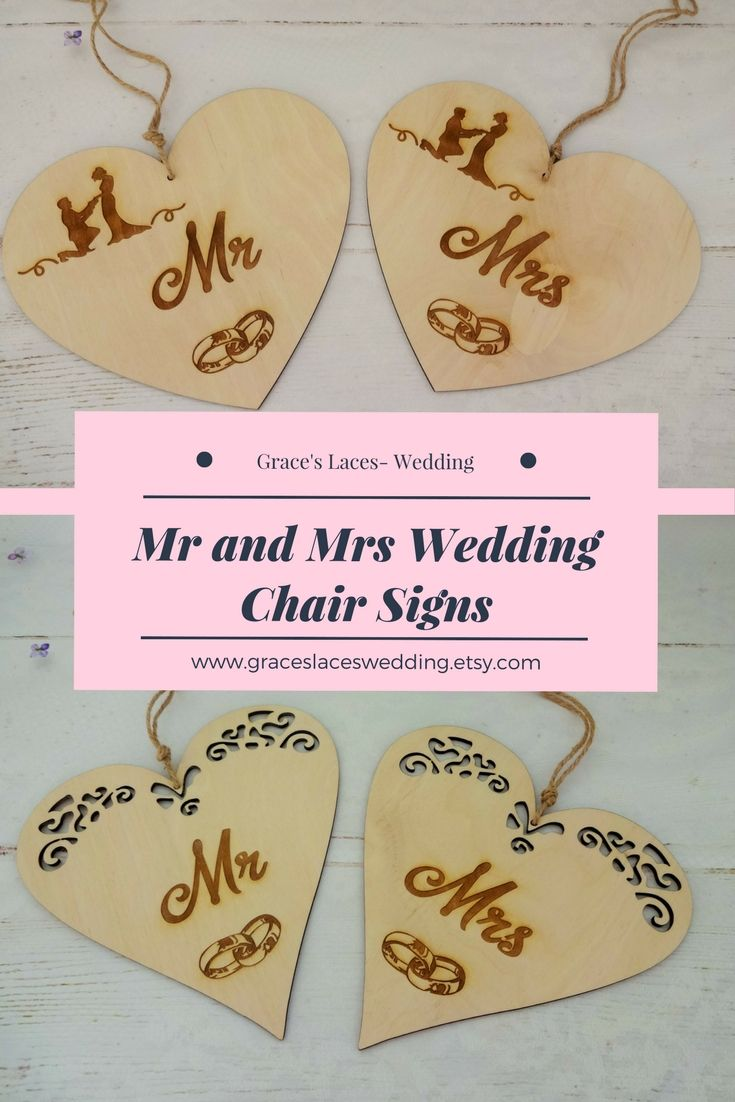 Wedding Photo Props, Laser Engraved Chair Signs, Mr and Mrs Wedding ...