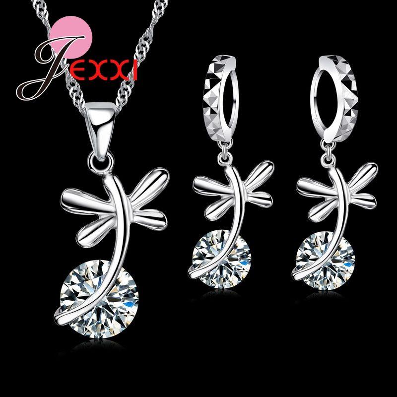 8f78ec350806 Jemmin Fashion Women Jewelry Sets 925 Sterling Silver Austrian Crystal  Necklace Earrings Set Pendant Necklace For