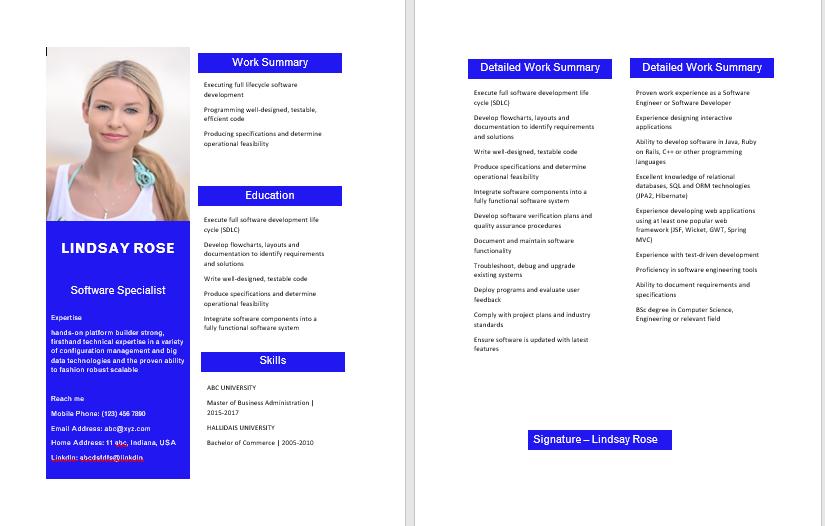 Softwareengineer Resume Template Example Resume Builder Free Cv Maker Mon Cv 2020 Cu In 2020 Best Free Resume Templates Resume Template Examples Best Resume Template