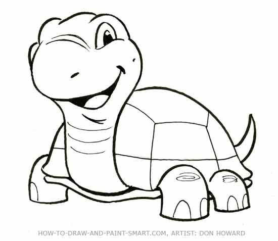 How To Draw A Turtle Turtle Drawing Animal Drawings Cartoon