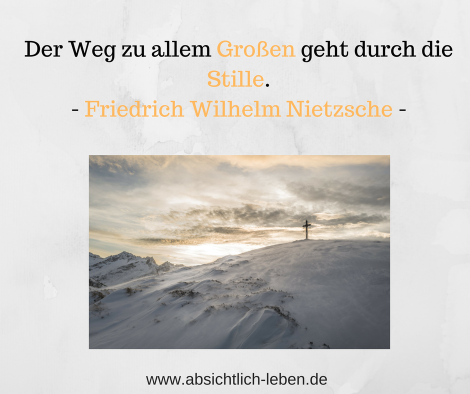 Der Weg Zu Allem Grossen Geht Durch Die Stille Friedrich Wilhelm Nietzsche Absichtlich Leben De Lebensweisheiten Leben Friedrich Nietzsche