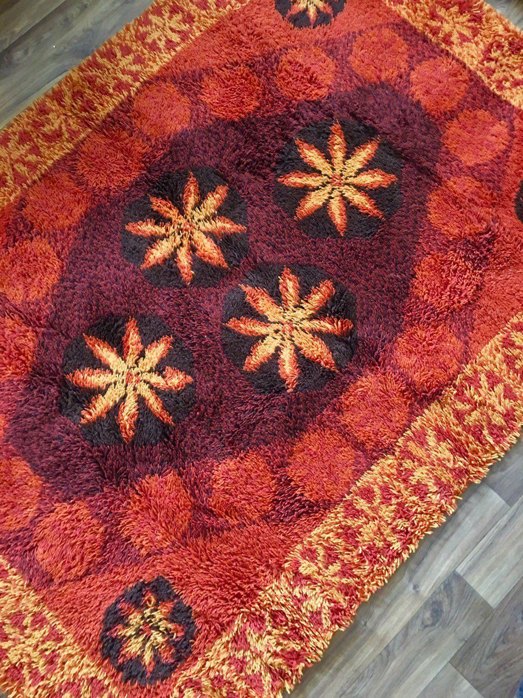 Vintage Swedish Ryamatta Shagpile Rug In 100 Wool Rugs Scandinavian Textiles Rya Rug