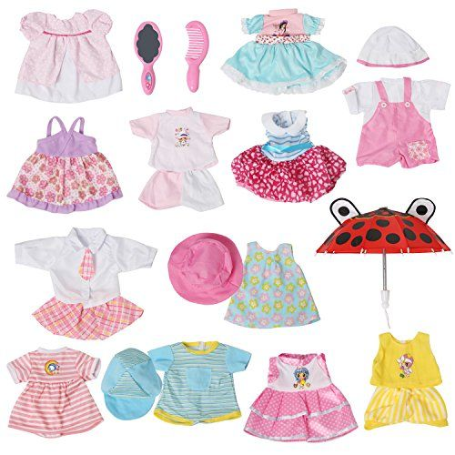 Set Of 12 Handmade Baby Doll Clothes Dress Outfits Costumes For 14 16 Inch Dolly Pretty Doll Cloth Hat Cap Doll Clothes Crochet Doll Clothes Baby Doll Clothes