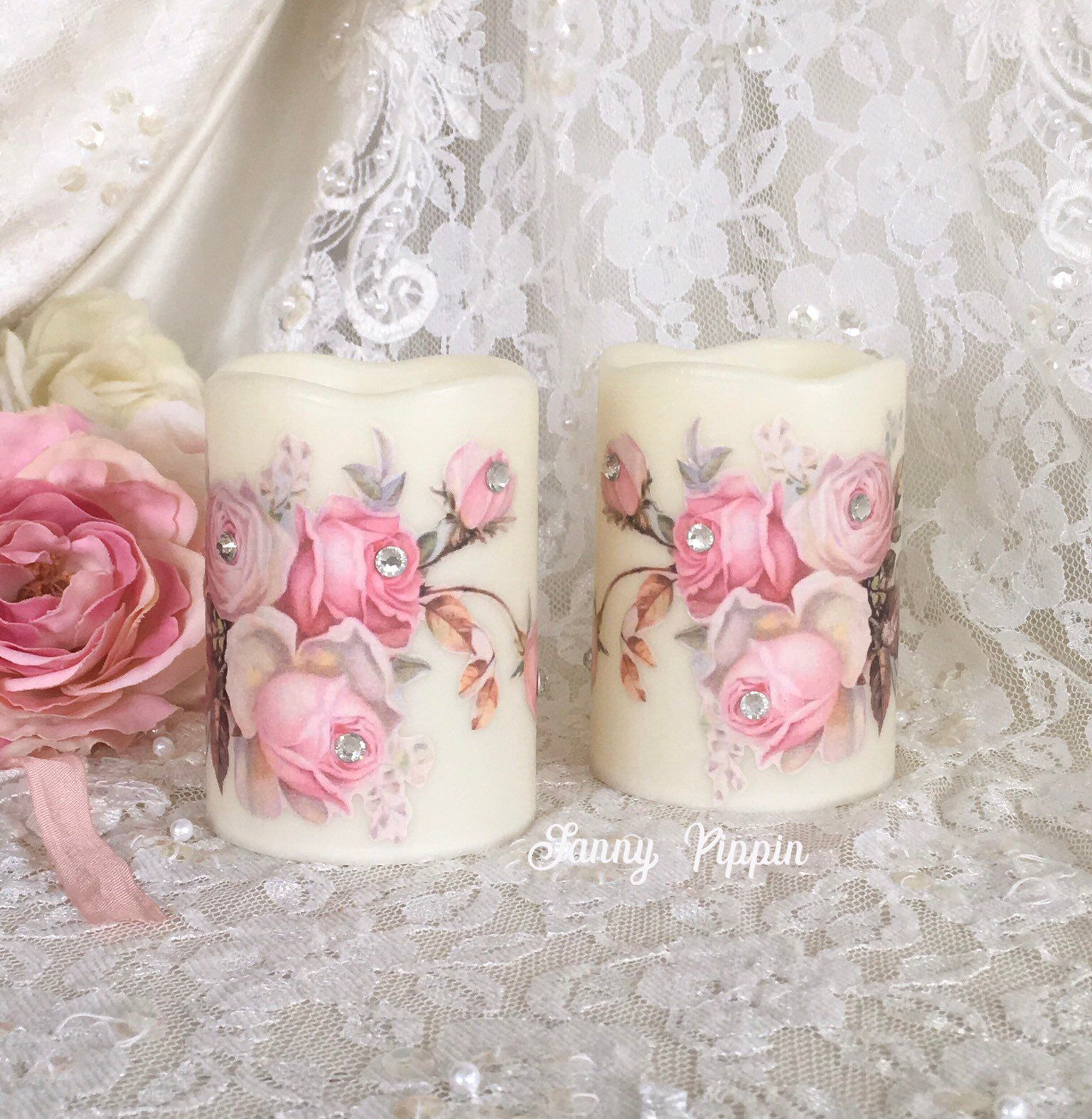 Shabby Pink Flameless Candles Roses Wax Led Candles Floral Candles Shabby Pink Decor Shabby Cottage Chi Floral Candle Shabby Chic Cottage Shabby Chic Pink