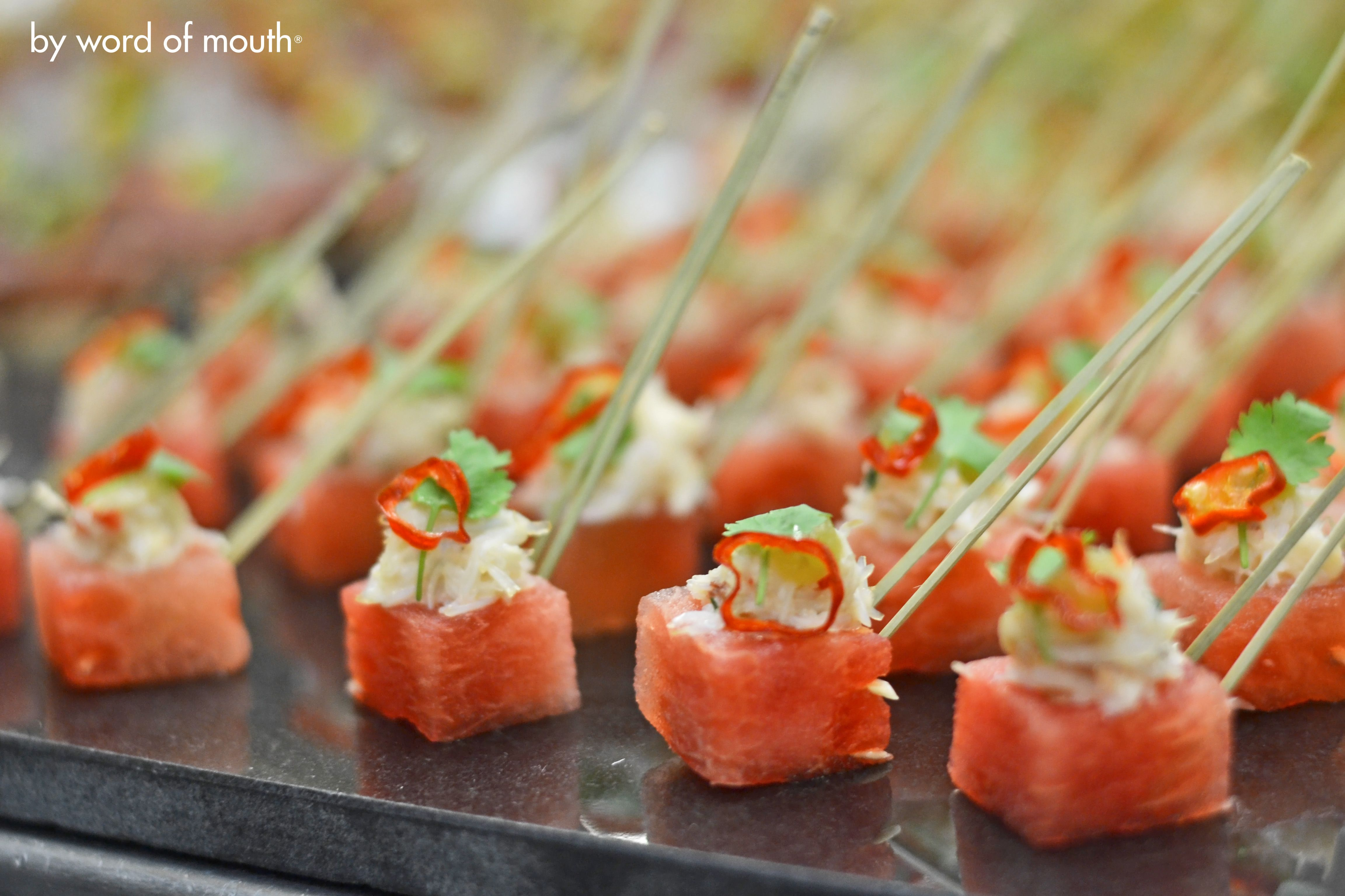 Canape Hh Cold Canape Compressed Watermelon With White Crab Mint And A