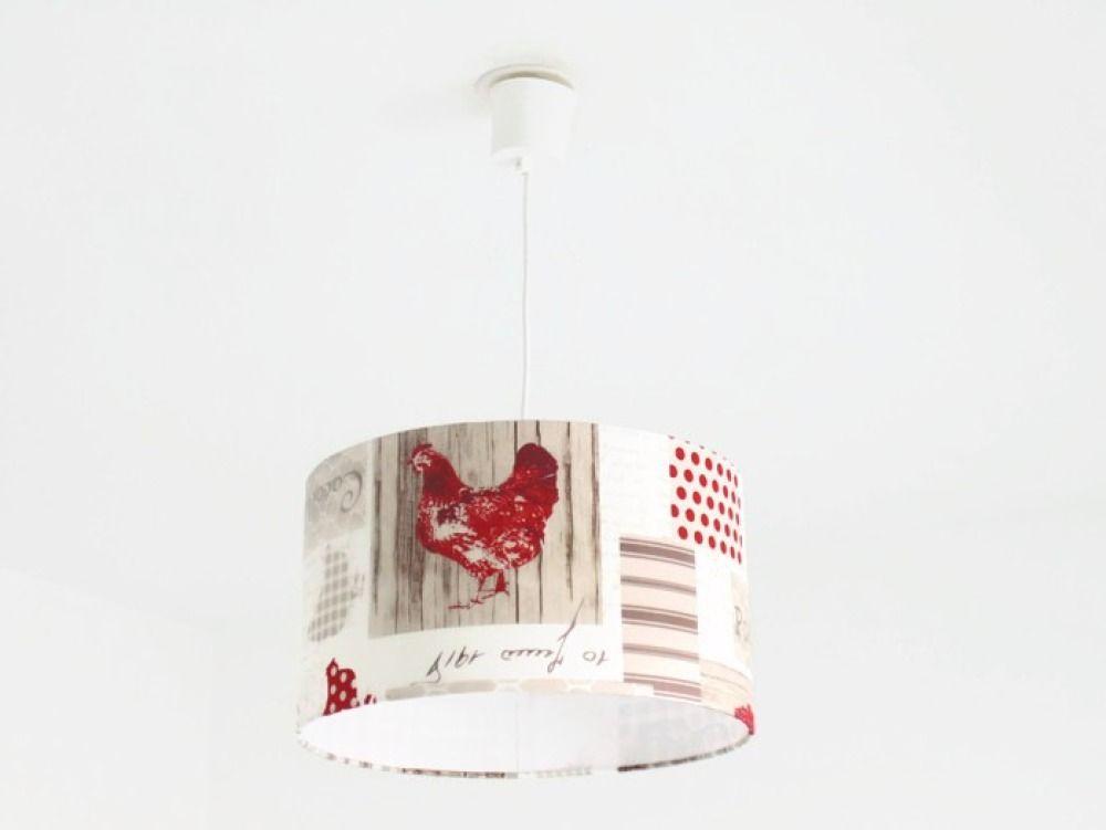 Lustre suspension plafonnier abat jour cylindrique 40 cm Suspension cuisine rouge