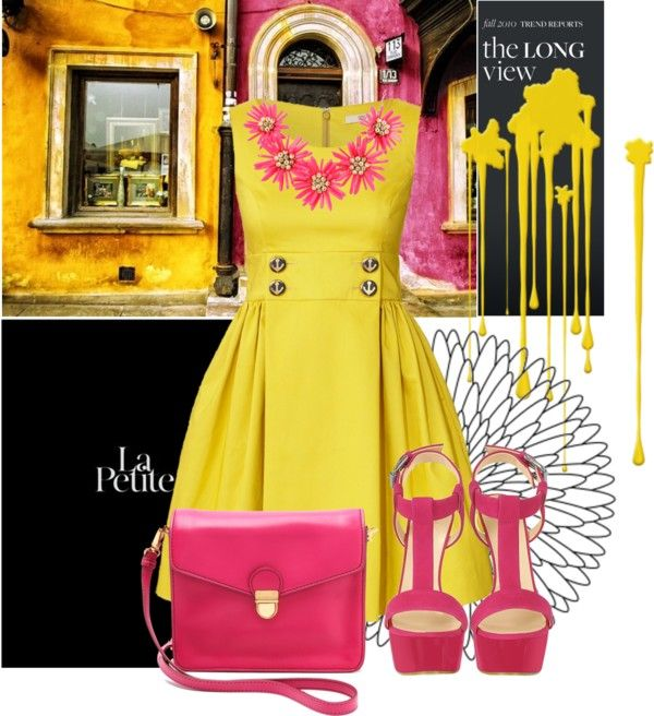 """""""Pink & Yellow"""" by marvinsfaster ❤ liked on Polyvore"""