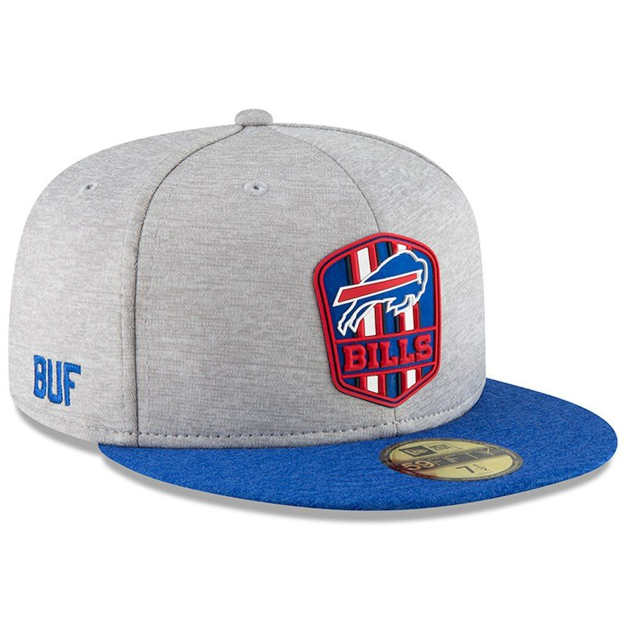Men s Buffalo Bills New Era Heather Gray Royal 2018 NFL Sideline Road  Official 59FIFTY Fitted Hat 28fe51d56