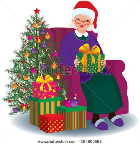 elderly woman sitting in a chair with christmas present in hands rh pinterest com