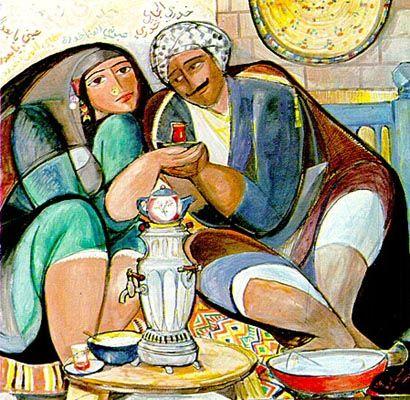 Iraqi art -Nizar Selim 1925 prepare the tea, My love.