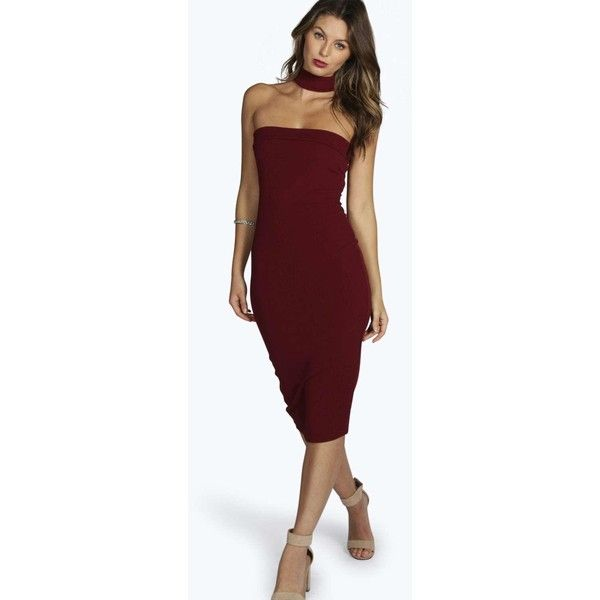 65ffe20a1020 Boohoo Night Hannah Neck Detail Bandeau Midi Dress ($30) ❤ liked on  Polyvore featuring dresses, berry, strappy dress, bandeau dress, stretch  dress, ...