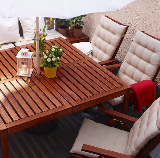 IKEA Solid Acacia Applaro Outdoor Dining Table And Reclining Chair   Ikea    $419