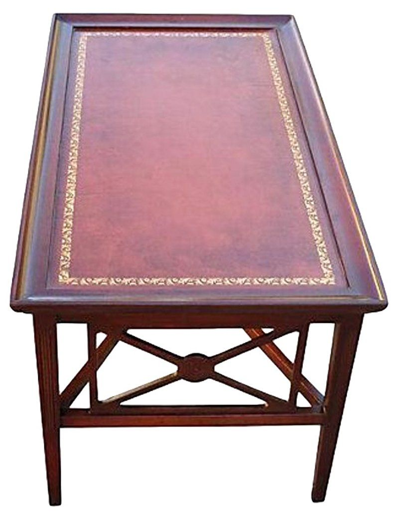 Rectangular Leather Top Coffee Table Coffee Tables Living Room