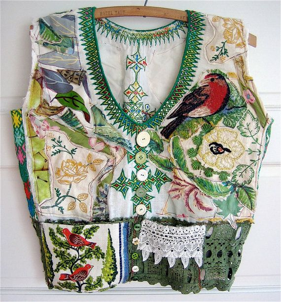 GREENERY Vintage Fabric Applique  Wearable Collage Folk  ART Tunic  my bonny gorsuch