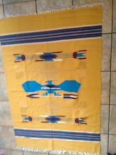 Vintage CHIMAYO MEXICAN Woven Blanket 5' X 3' YELLOW GOLD