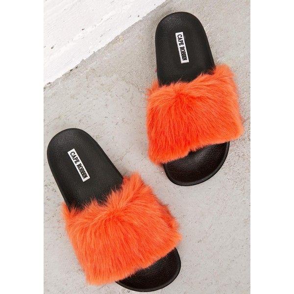 0e363a5ccd6 Orange Fuzzy Slides ($30) ❤ liked on Polyvore featuring shoes, sandals,  fuzzy shoes, fuzzy sandals, slide sandals, orange shoes and orange sandals