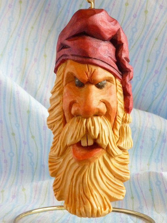 "Hand Carved Offbeat ""Curmudgeon Claus"" Santa Claus Decoration"