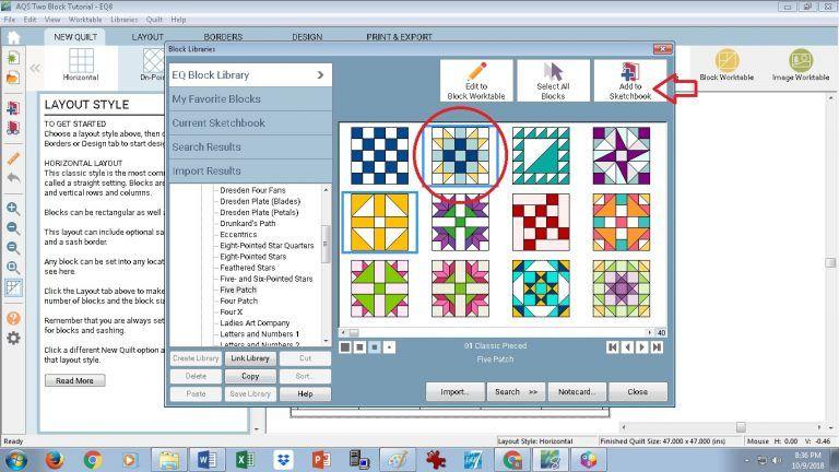Two Block Quilt Layout Eq Tutorials Quilting Designs Quilt Blocks Electric Quilt