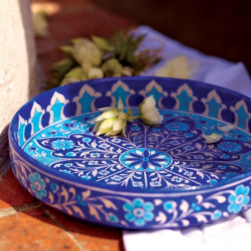 Craft By World Market World Market Ceramic Tableware Blue Pottery Serving Platters