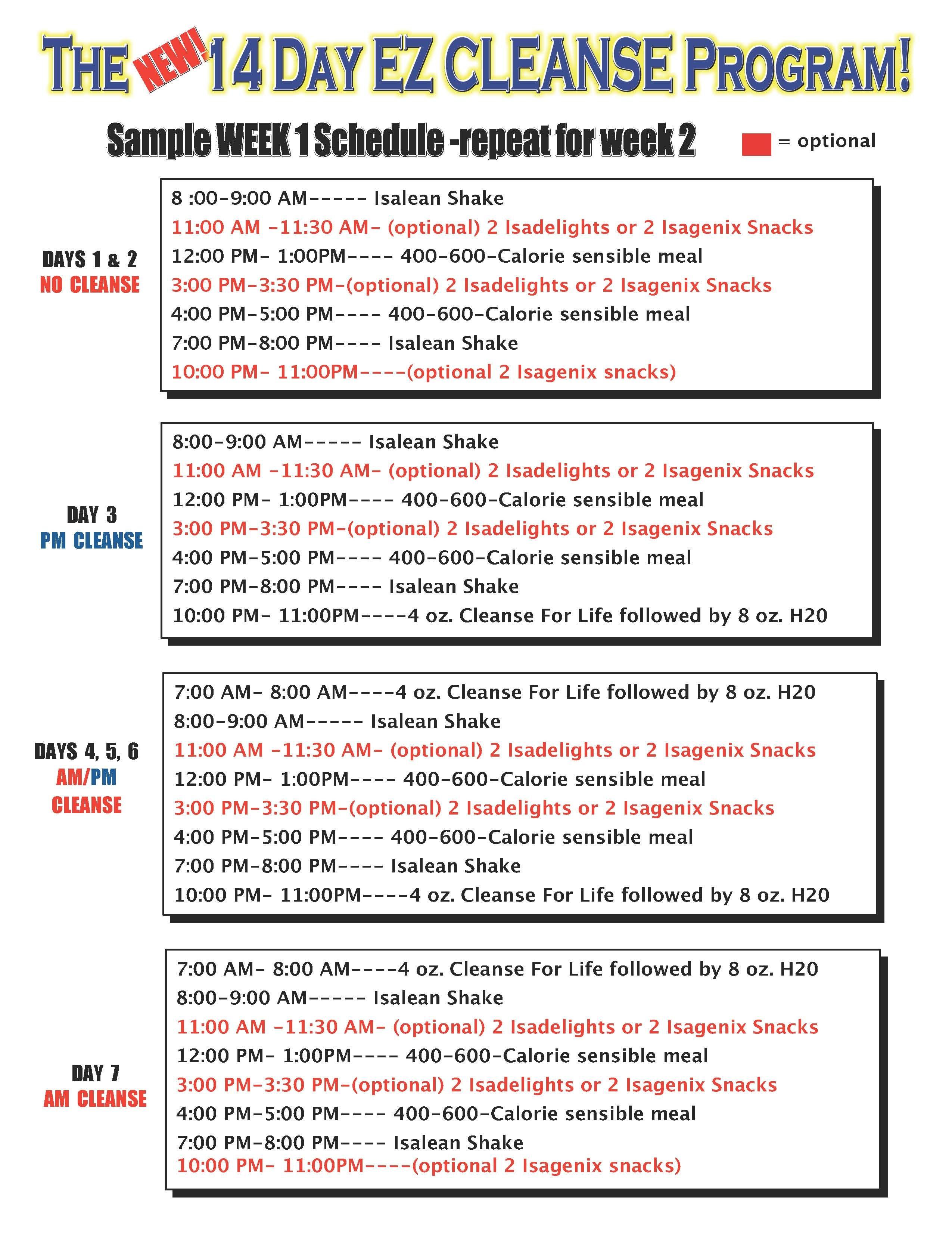 Isagenix  Day Cleanse  Sample Schedule HttpWww