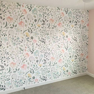 Posie Watercolor Floral Mural Traditional Or Removable Etsy Girls Room Wallpaper Traditional Wallpaper Room Wallpaper