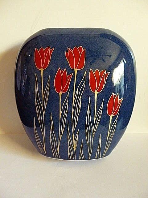 Vintage Mid Century Modern O M C Japan Amorphous Vasered Tulips On