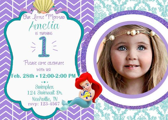 Digital Ariel 1st Birthday Invitation Baby The Little Mermaid I