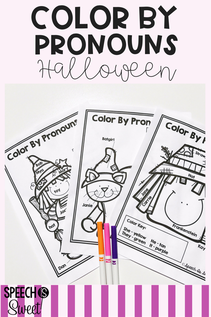 Coloring activities speech therapy - Halloween Color By Pronouns Coloring Sheets Are A Great Way To Reinforce And Teach Pronouns Great For Halloween Themed Speech Language Therapy