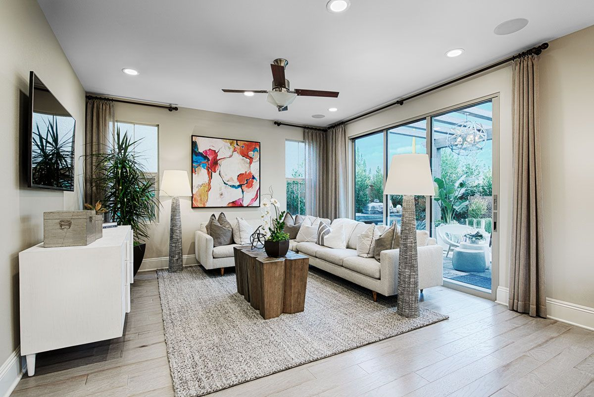 Statement wall art brightens  neutral great room laclaire model home irvine ca richmond american homes also rh pinterest