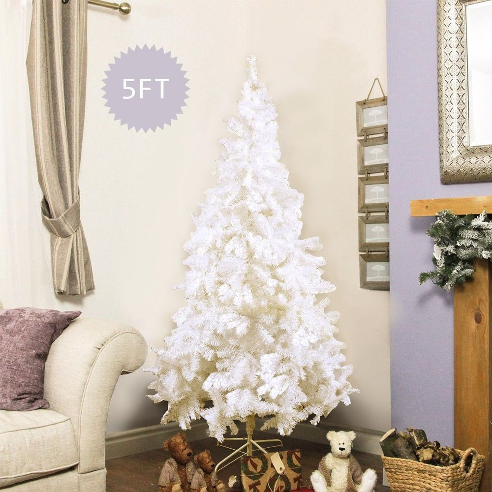 5Ft Christmas Decoration Tree White Pine 350 Tips Pine Metal Stand ...