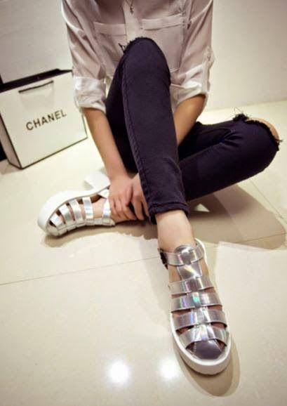 22d8c6bde92 Hologram White Gladiators Platform Clogs Stylenanda Inspired RM 50 ...
