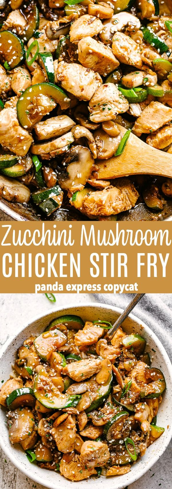 Zucchini Mushroom Chicken Stir Fry - Fresh and delicious chicken stir fry bursting with flavor in each and every bite! All you need is one skillet, 20 minutes, and just a handful of pantry ingredients.Chicken, zucchini, mushrooms, and the flavors of PANDA EXPRESS come together in a recipe that's about to become your family's favorite take-out fake-out! #healthystirfry