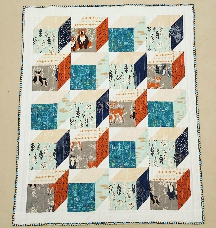 "mini quilt using Art Gallery Fabrics ""Hello Bear"" line <3 fun design!"