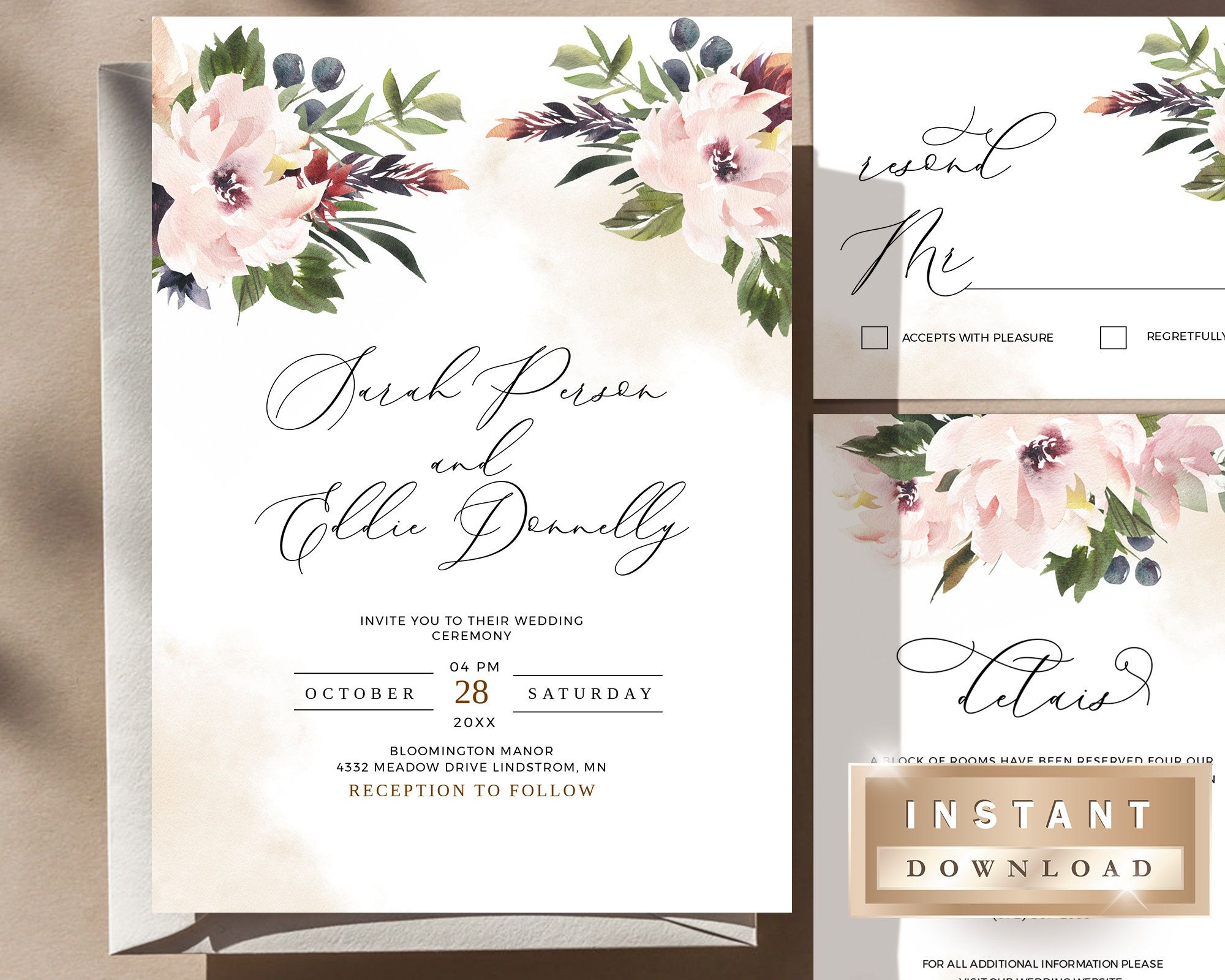 Wedding Bundle Template Instant Download Invitation White   Etsy Gallery