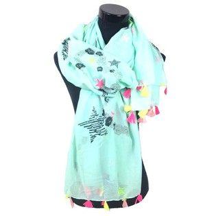 Mintgroene sjaal met hartjes en sterren