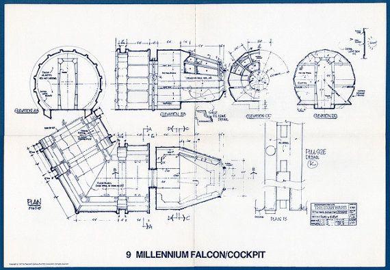 "007 Blueprint Star Wars Millennium Falcon 21/""x14/"" Poster 24inch"